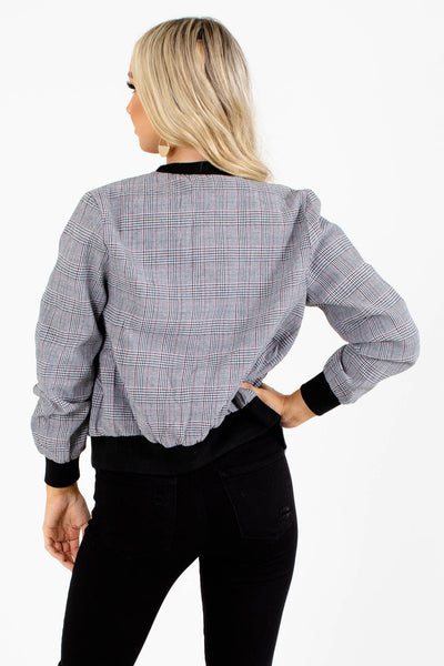 Black White Blue Red Houndstooth Plaid Bomber Jackets Boutique