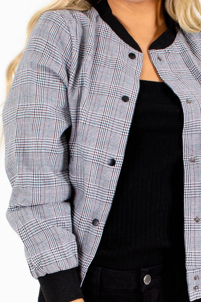 Black White Red Blue Houndstooth Plaid Print Boutique Bomber Jackets
