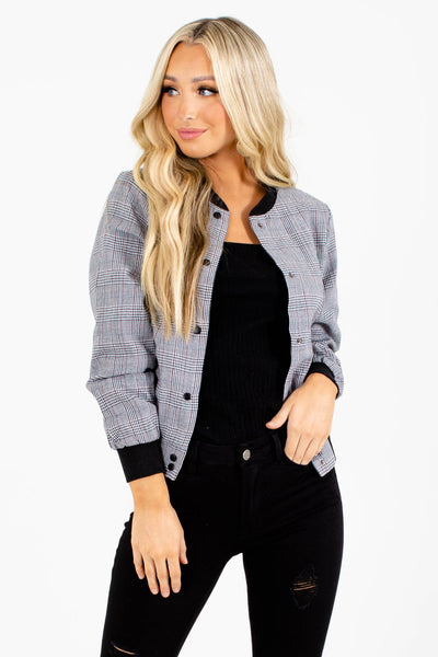 Black Houndstooth Plaid Boutique Bomber Jackets Affordable Outerwear