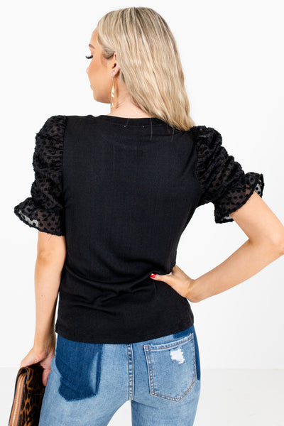 Women's Black High-Quality Stretchy Material Boutique Blouse