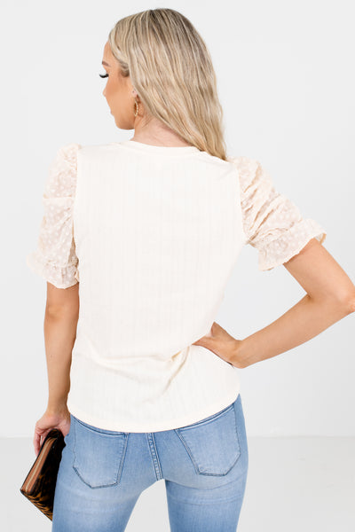 Women's Cream Business Casual Boutique Blouses