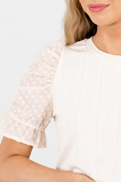 Cream Polka Dot Textured Boutique Blouses for Women