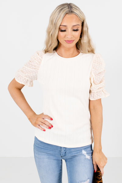 Cream Round Neckline Boutique Blouses for Women