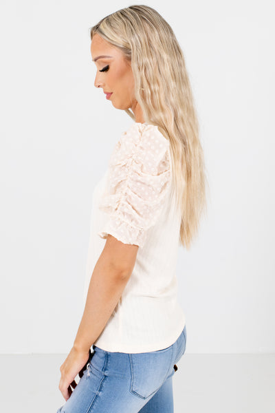 Women's Cream Cute and Comfortable Boutique Blouses