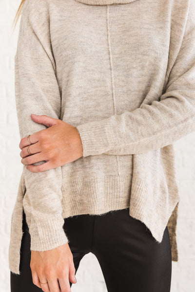 Beige Brown Cowl Neck Sweaters for Women Cozy