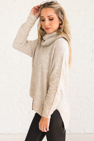 Beige Brown Boutique Cowl Neck Clothing