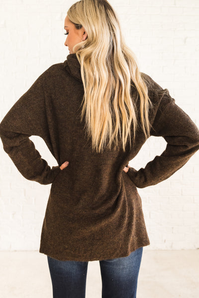 Brown Cowl Neck Cozy Women's Sweater