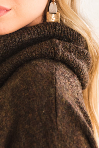 Brown Cowl Neck Women's Boutique Clothing