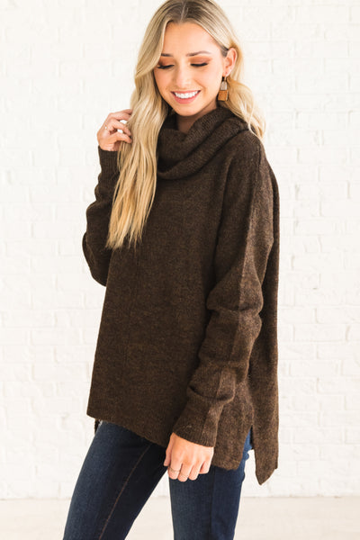 Brown Long Sleeve Cowl Neck Sweaters for Women