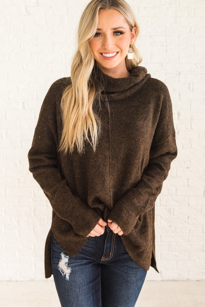 Brown Oversized Knit Sweaters for Women