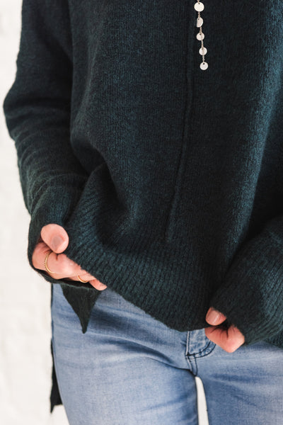 Dark Teal Green Long Sleeve Sweaters for Women