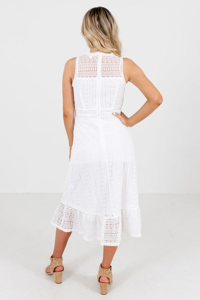 Women's White Ruffled Hem Boutique Midi Dresses