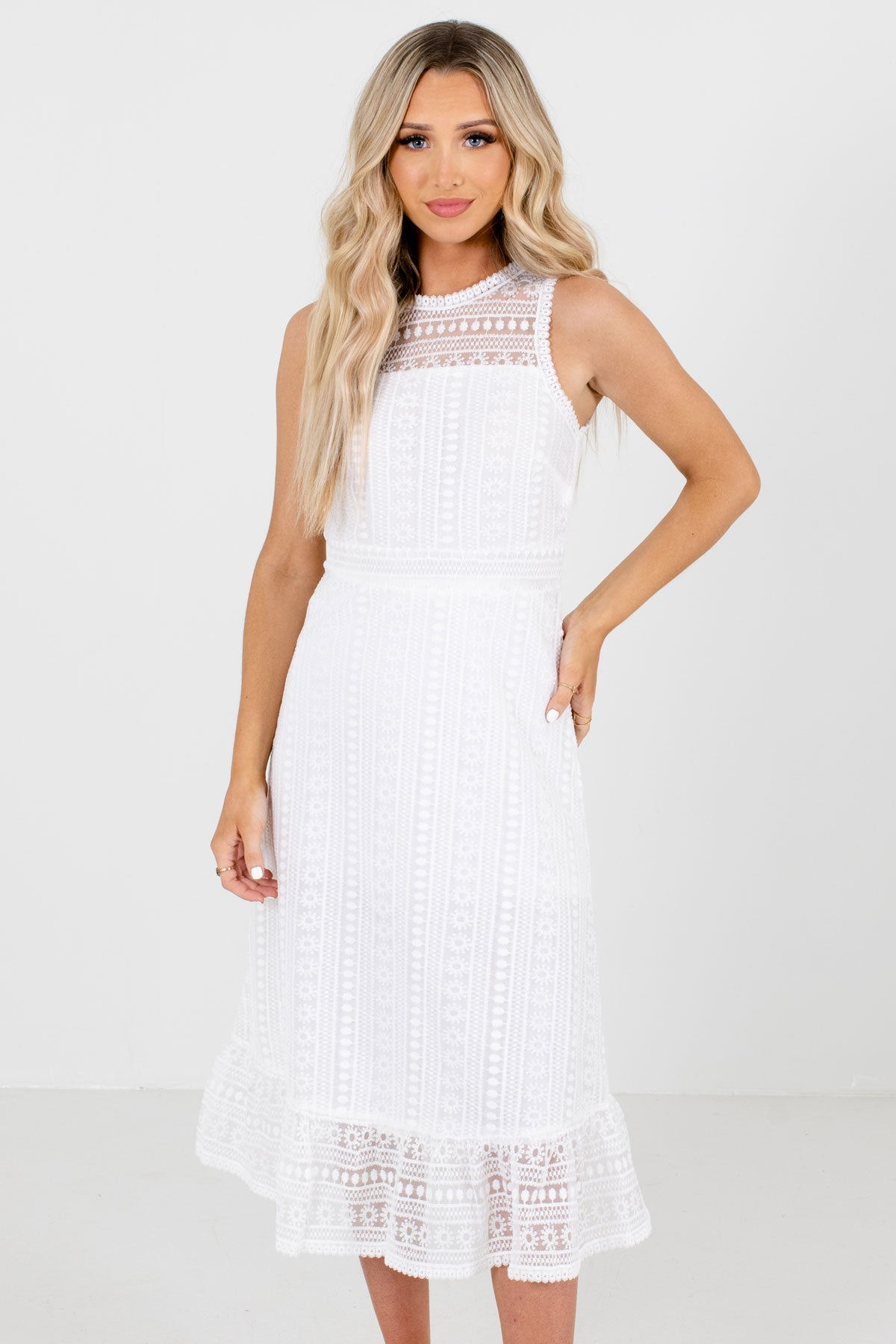 White High Round Neckline Boutique Midi Dresses for Women