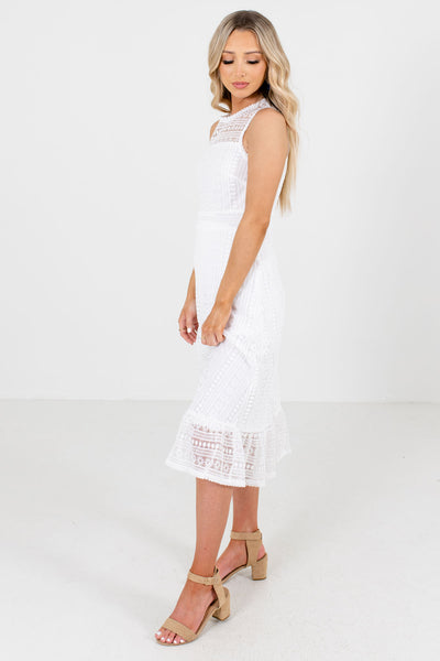 White Crochet Lace Boutique Midi Dresses for Women