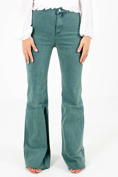 Pine Green Flare Style Boutique Jeans for Women