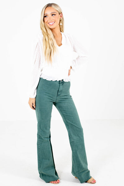 Pink Green Distressed Hem Boutique Jeans for Women