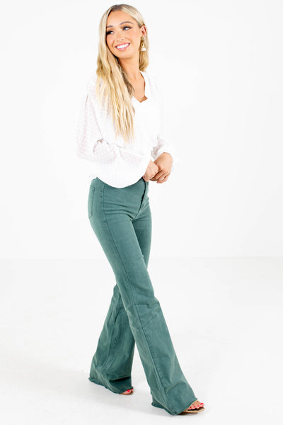 Pine Green Cute and Comfortable Boutique Jeans for Women
