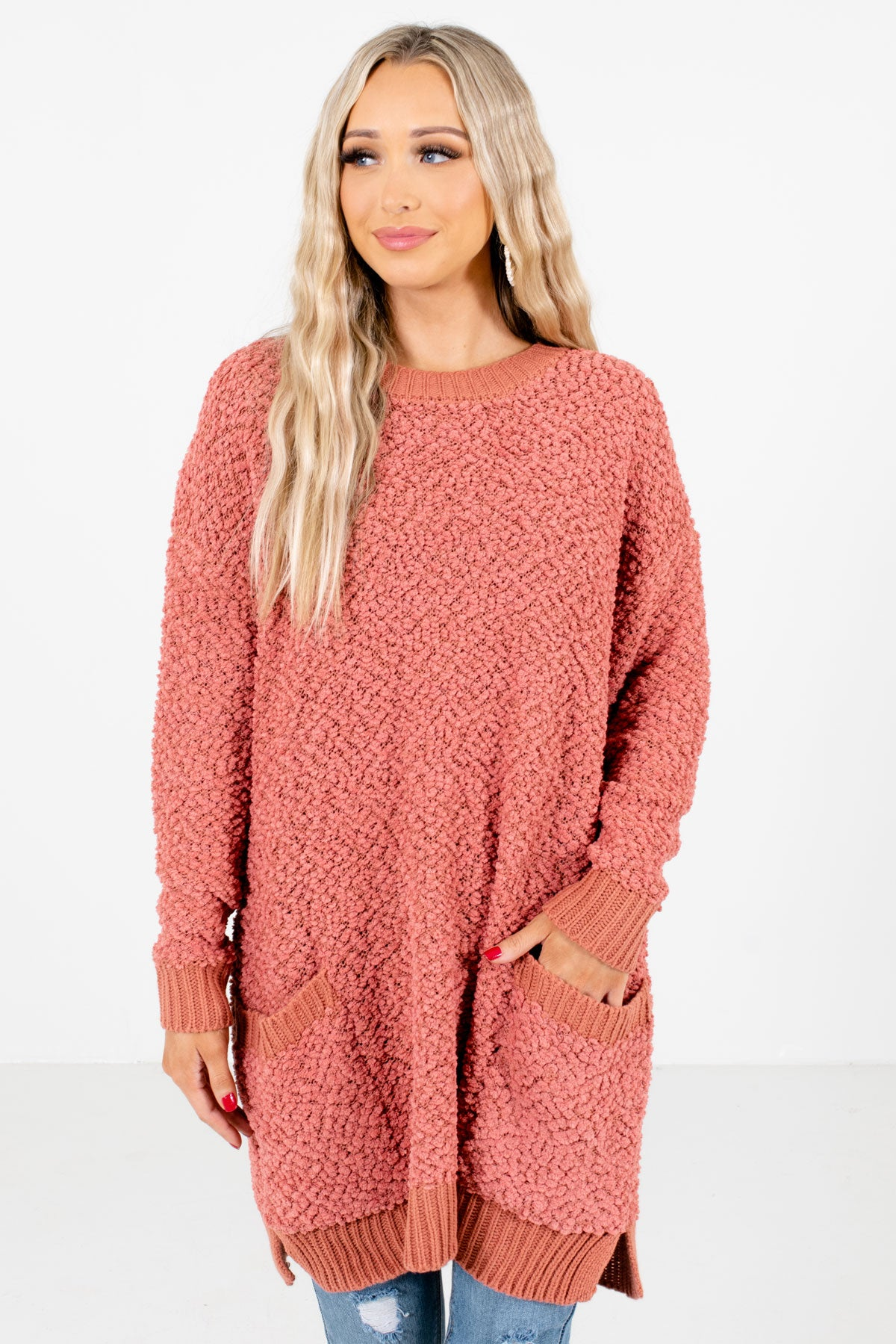 Coral Pink High-Quality Popcorn Knit Material Boutique Sweaters for Women