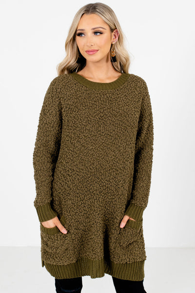 Women's Olive Green Cozy and Warm Boutique Sweater