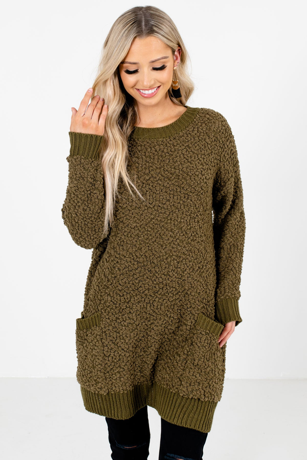 Olive Green High-Quality Popcorn Knit Material Boutique Sweaters for Women
