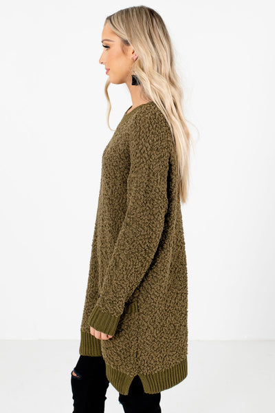 Olive Green Boutique Sweaters with Pockets for Women