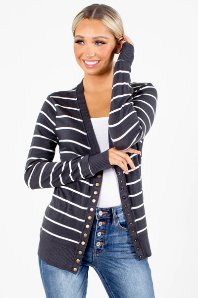 Charcoal Striped Pattern Boutique Cardigans for Women