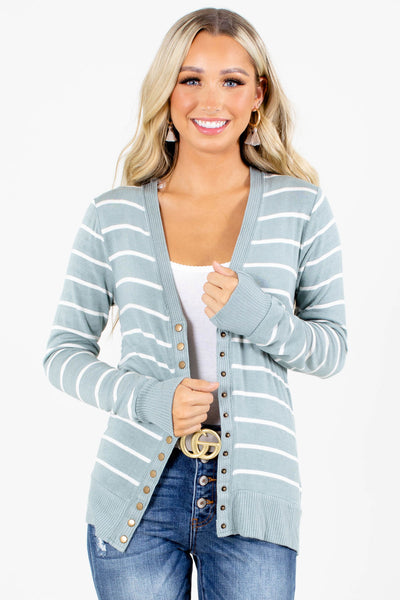 Green Long Sleeve Boutique Cardigans for Women