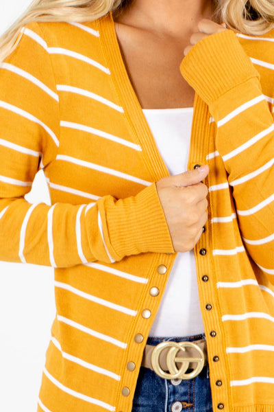 Women's Yellow Brass Button Boutique Cardigan