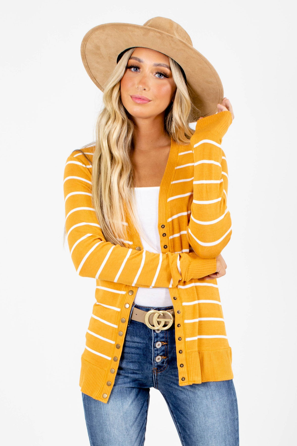 Yellow Striped Patterned Boutique Cardigans for Women
