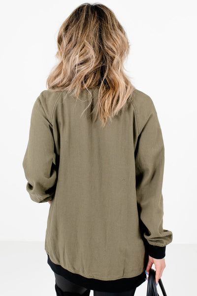Women's Olive Green Boutique Jackets with Pockets
