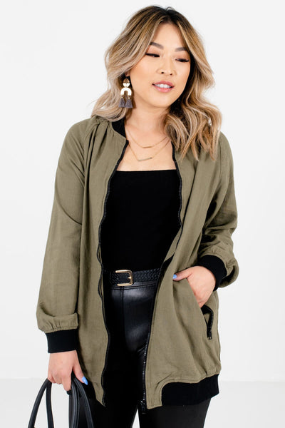 Women's Olive Green Cozy and Warm Boutique Jackets