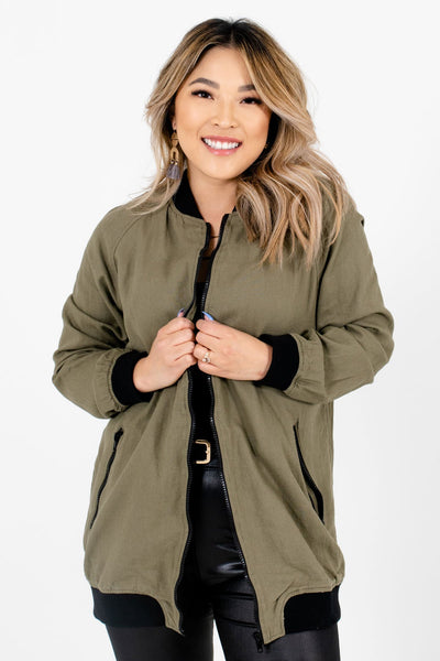 Women's Olive Green Layering Boutique Jackets