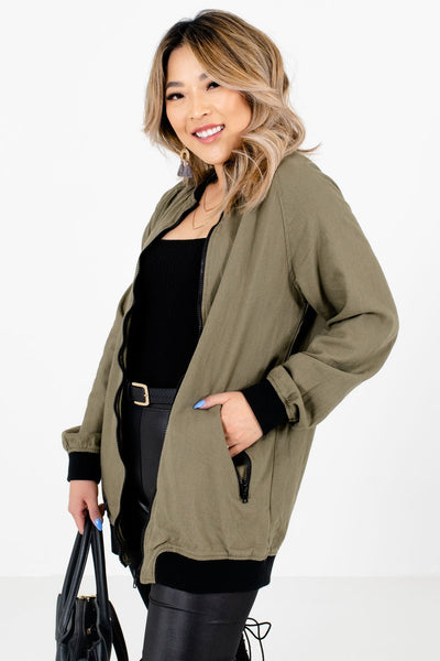 Olive Green Lightweight High-Quality Material Boutique Jackets for Women