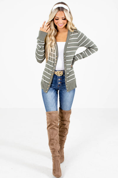 Olive Button-Up Front Boutique Cardigans for Women