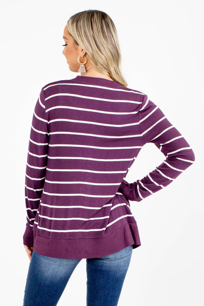 Women's Purple Striped Patterned Boutique Cardigan