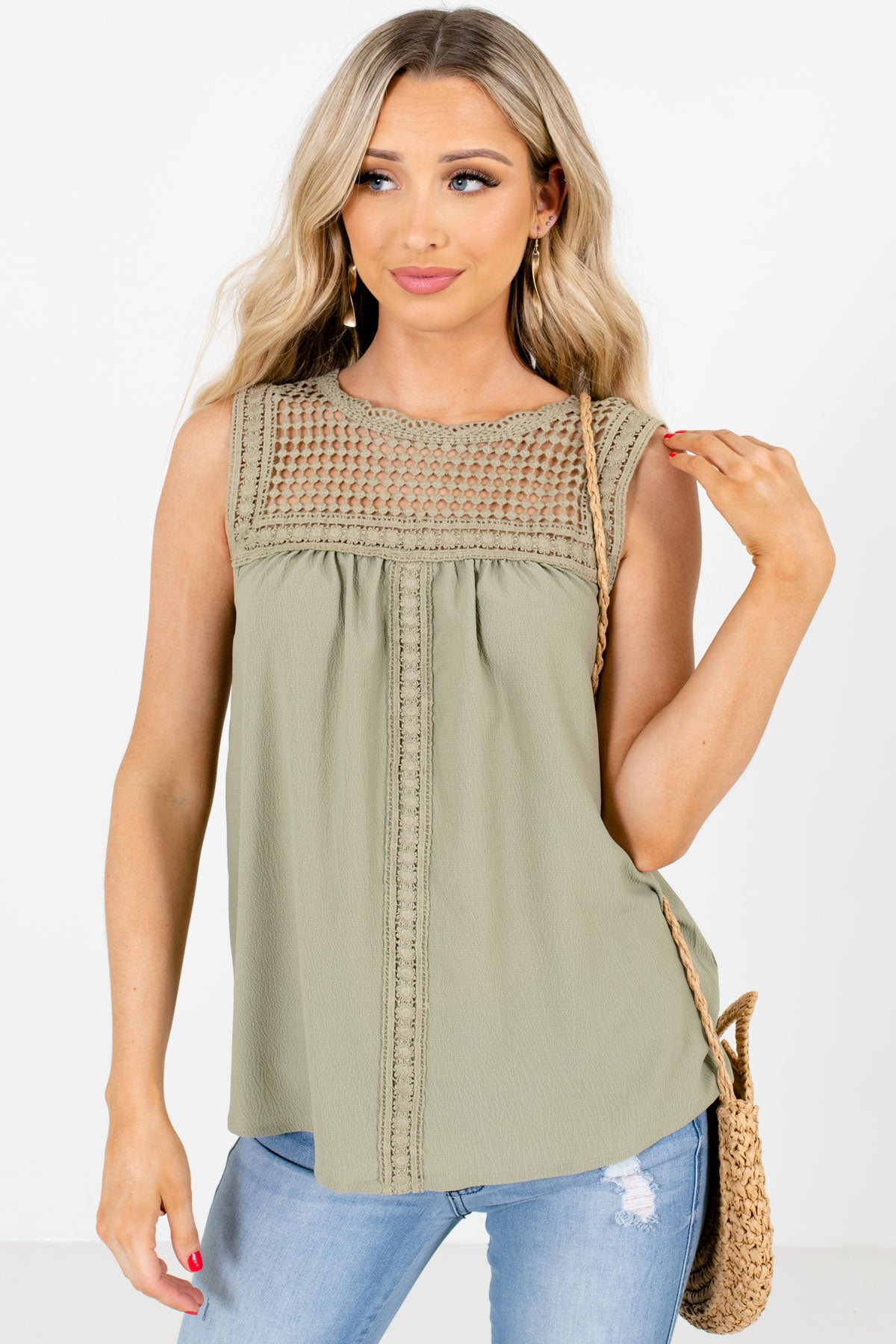 Olive Green Crochet Detailed Boutique Tank Tops for Women