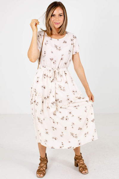 Cream and Gray Floral Patterned Boutique Midi Dresses for Women