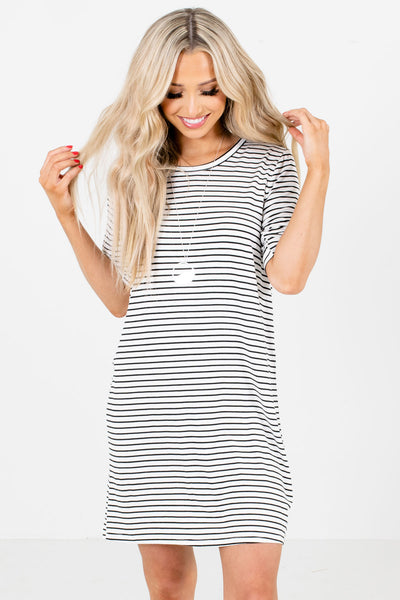 Black and White Stripe Patterned Boutique Mini Dresses for Women