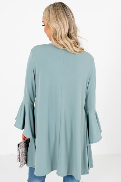 Women's Green High-Low Hem Boutique Blouse