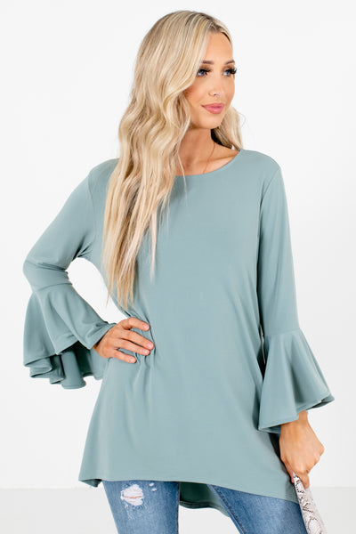 Green Bell Sleeve Style Boutique Blouses for Women