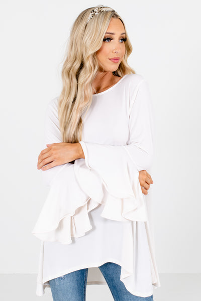 White Round Neckline Boutique Blouses for Women