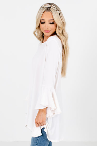 Women's White High-Quality Material Boutique Blouse