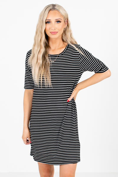 Black and White Striped Boutique Mini Dresses for Women