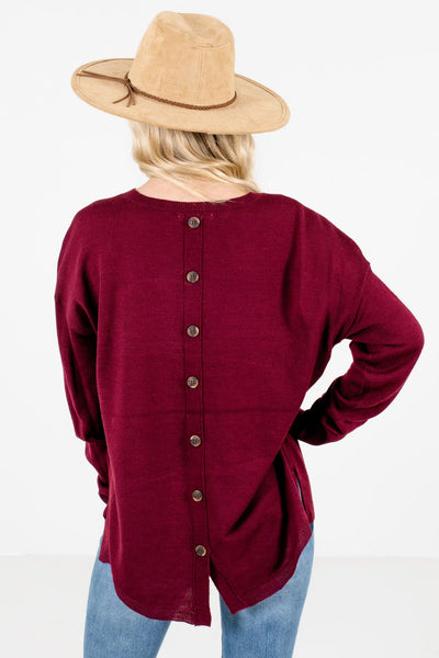Women's Burgundy Split High-Low Hem Boutique Sweater