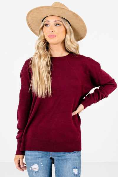 Women's Burgundy Warm and Cozy Boutique Sweater