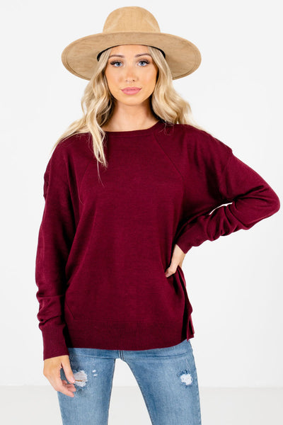 Burgundy Decorative Button Boutique Sweaters for Women
