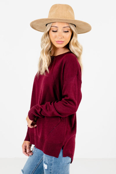 Burgundy Lightweight Knit Material Boutique Sweaters for Women