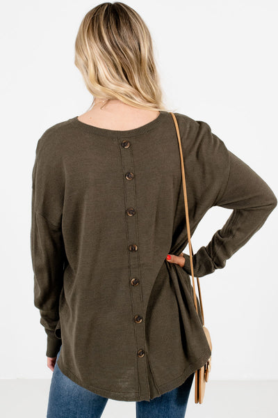 Women's Olive Green Split High-Low Hem Boutique Sweater