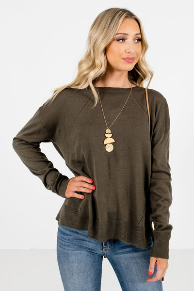 Olive Green Decorative Button Boutique Sweaters for Women