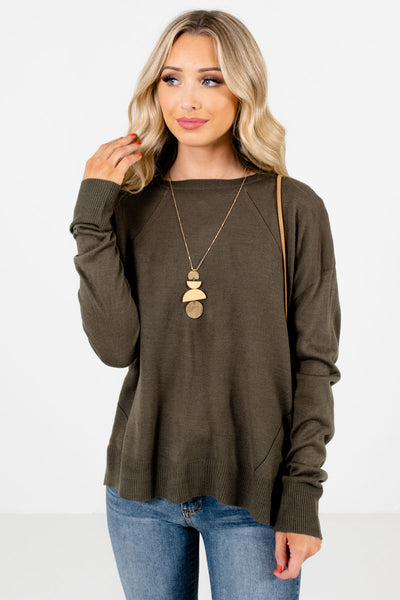 Women's Olive Green Long Sleeve Boutique Sweater